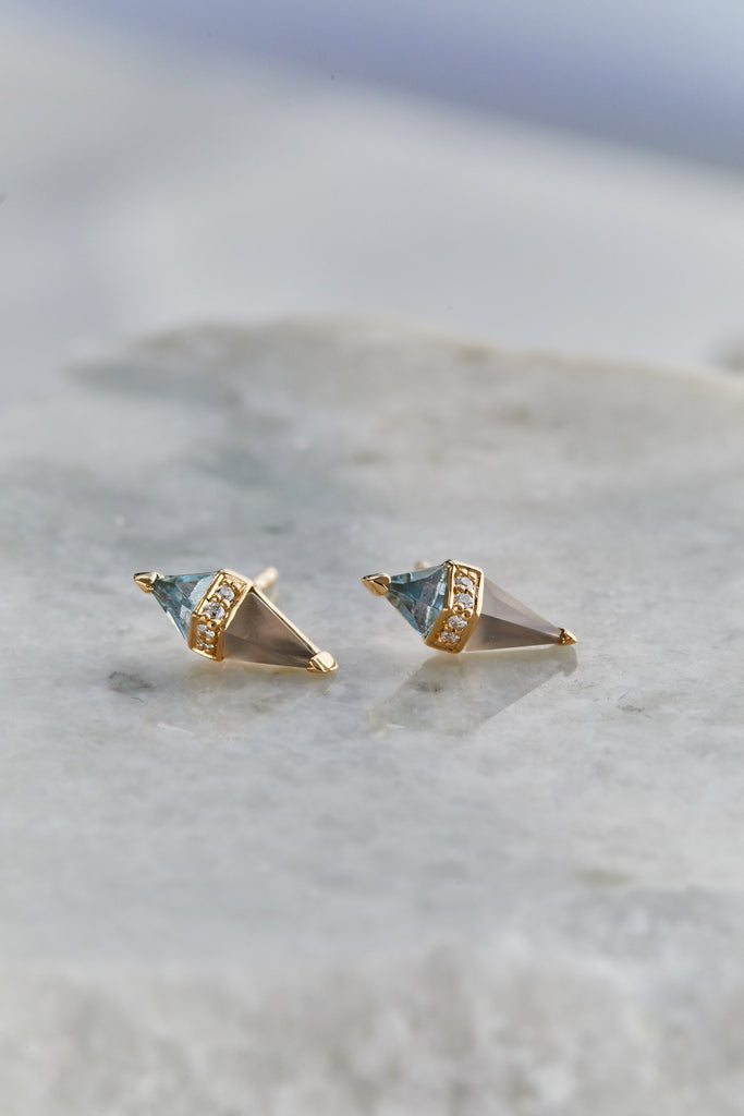 Blue Topaz and Grey Moonstone Pietra Stud SINGLE