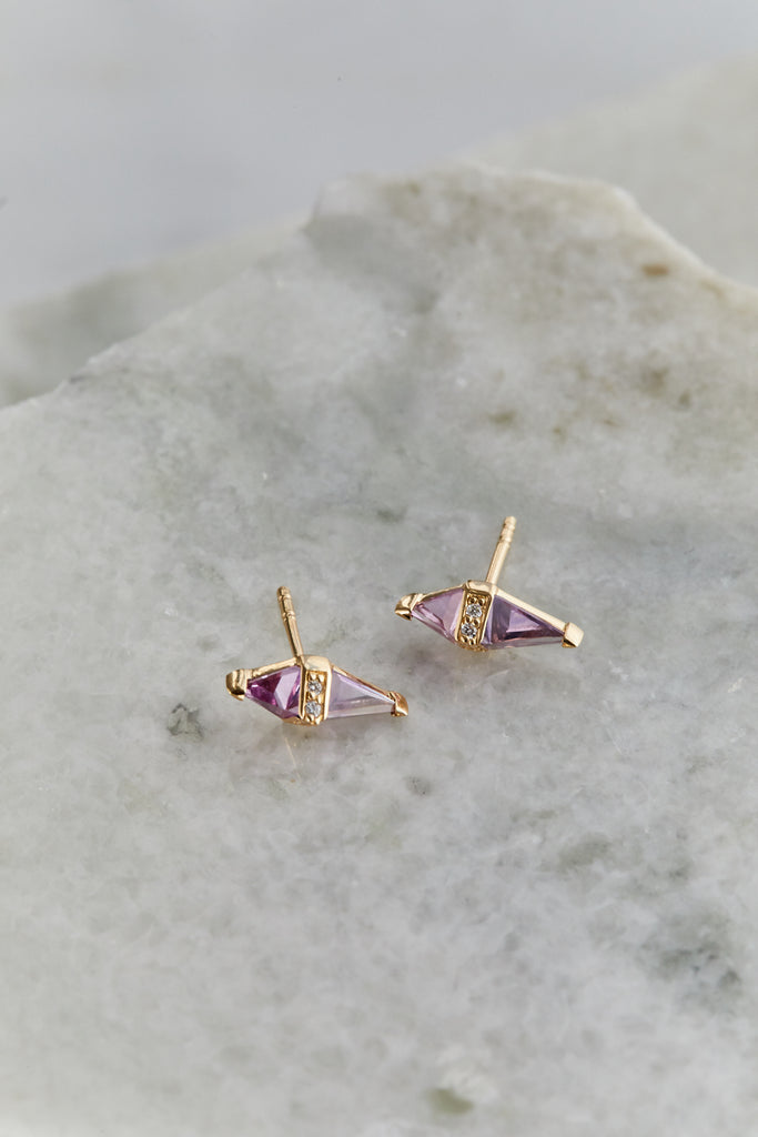 Pink Topaz and Purple Sapphire Pietra Stud SINGLE
