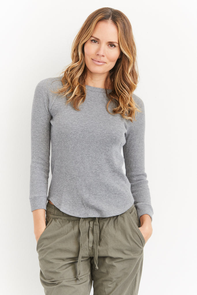 Cashmere Thermal Longsleeve Raglan Baseball Top