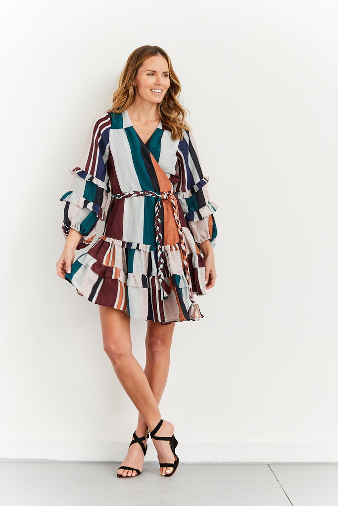Zarza Ruffle Wrap Mini Dress