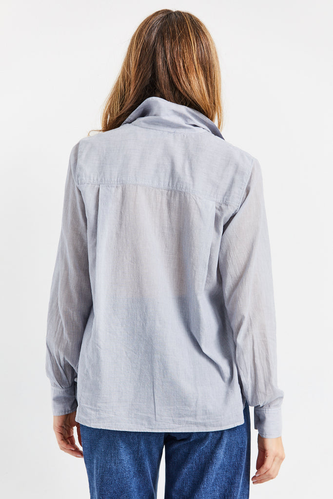 Collared Button Up in Cotton Voile