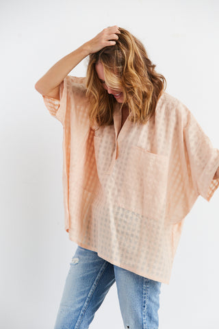 Grid Two Pocket Shirt, Peach, O/S