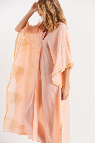 Metallic Triangle Caftan, Peach + Metallic, O/S