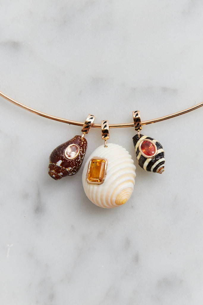 One of a Kind Striped Shell Charm with Red Sapphire