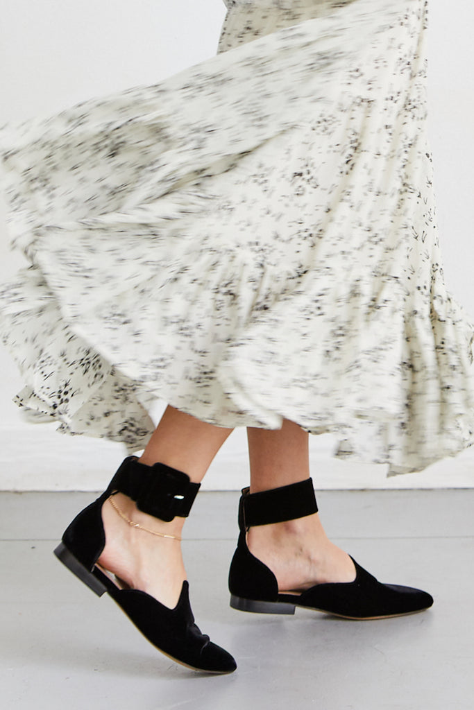 Velvet Ankle Strap Slipper