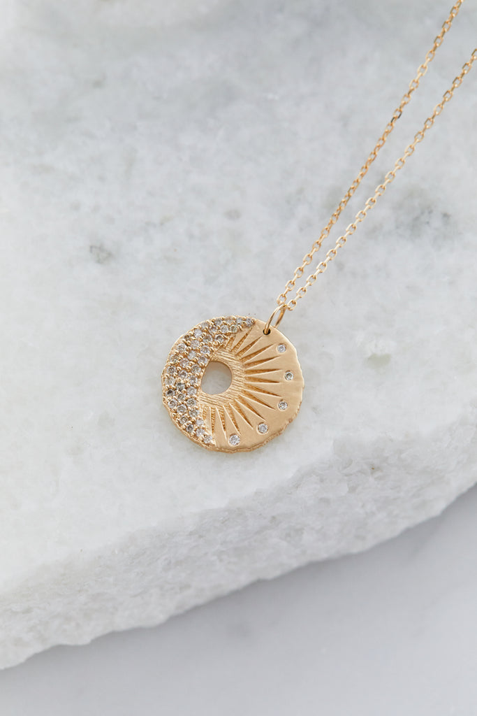 Sun and Moon Medallion Chain Necklace, 14K Gold