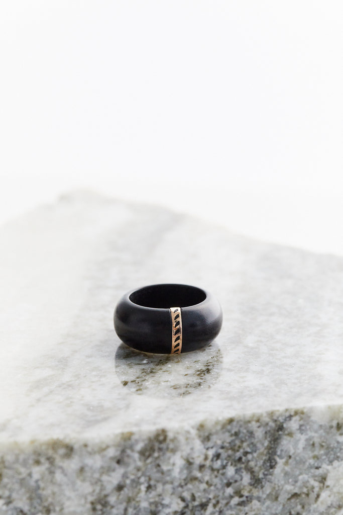 Ebony Wood Ring with Enameling