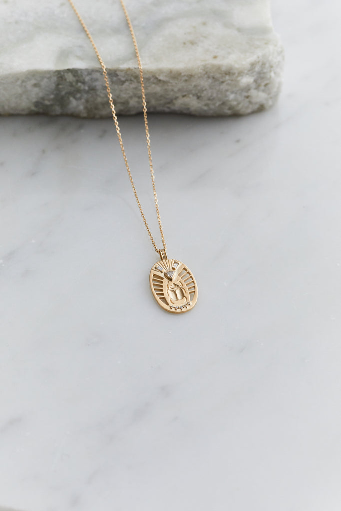 Scarab Medal with Diamonds Necklace