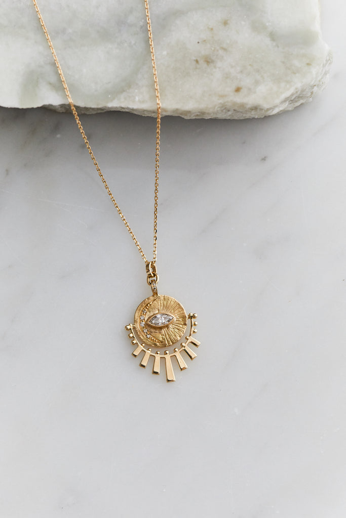 Marquise Diamond Moon Plate and Sun Beams Necklace, One of a Kind