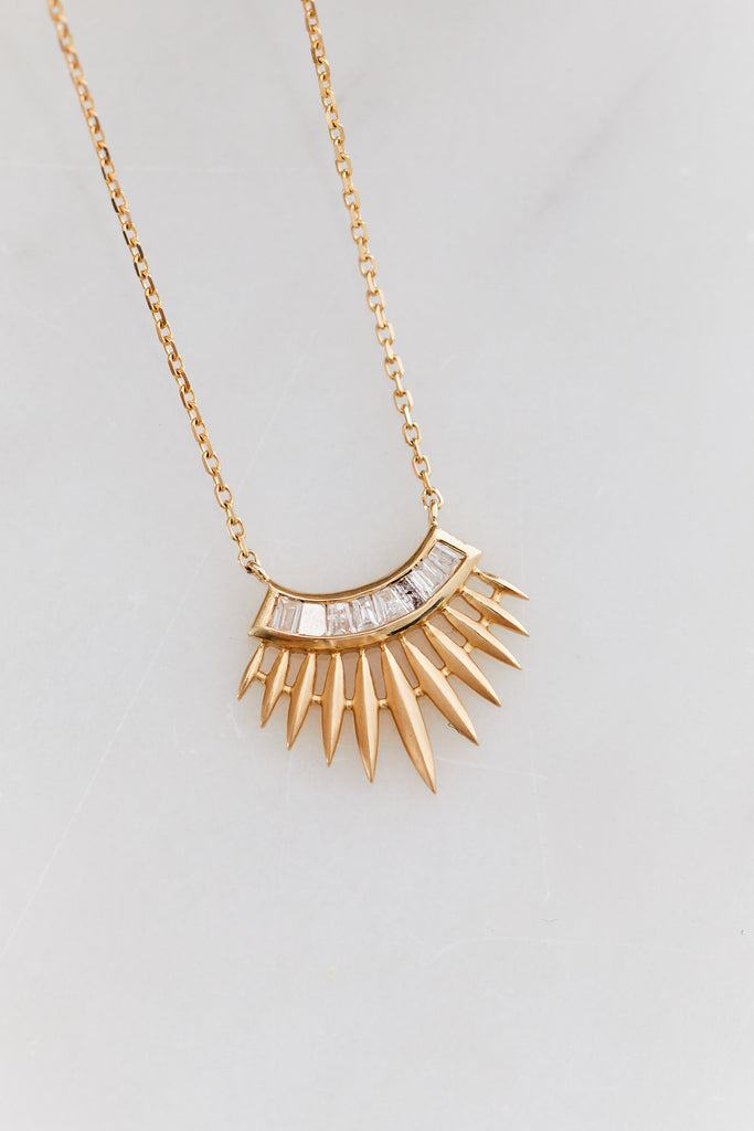 Rising Sun with Diamond Baguettes Necklace