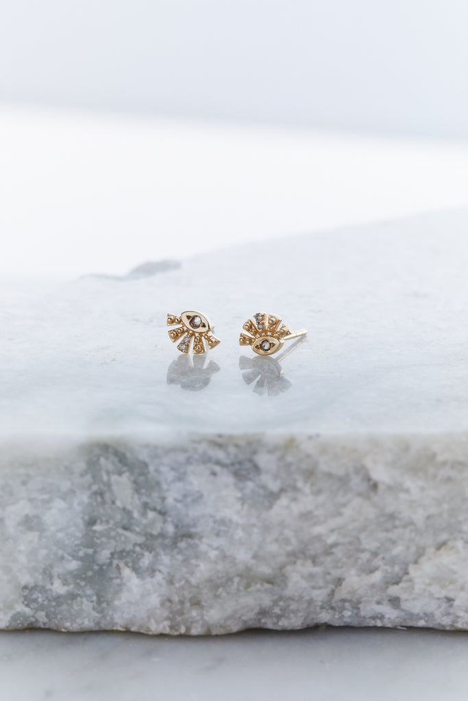 Aztec Sun Diamond Eye Stud Earrings (SINGLE)