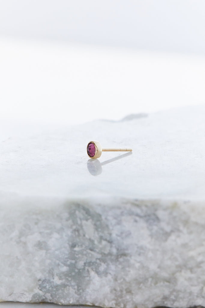 Plum Tourmaline Stud Earrings, One of a Kind (SINGLE)