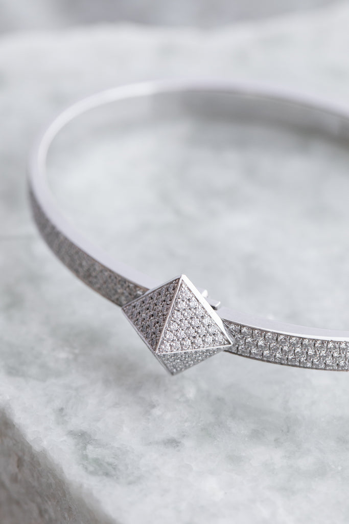18K White Gold Diamond Pave Mini Pyramid Bracelet