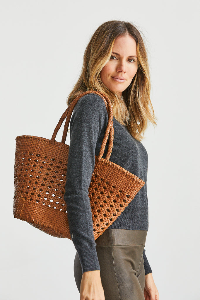 Handwoven Cannage Bag, Tan