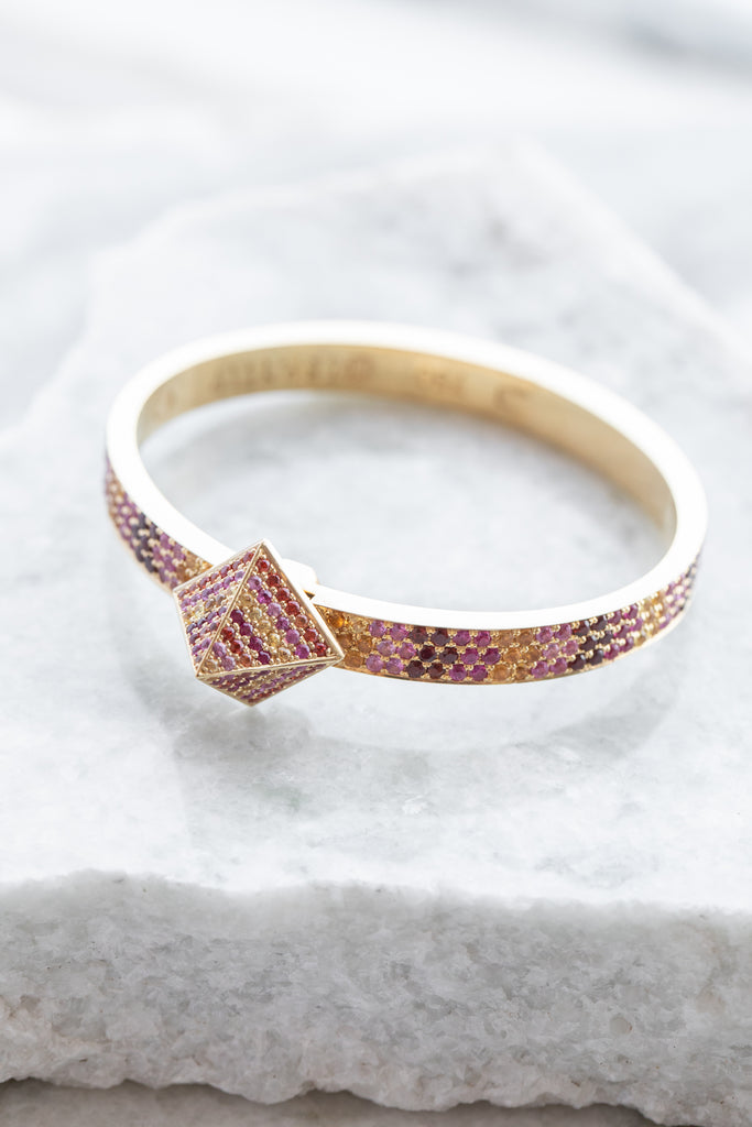 Blush Gradient Pave Diamond Bracelet, 18K YG