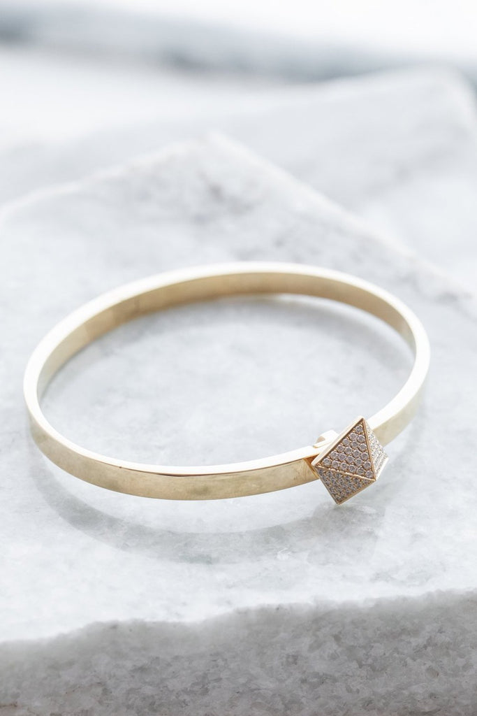 Pave Diamond Mini Pyramid Bracelet, 18k YG