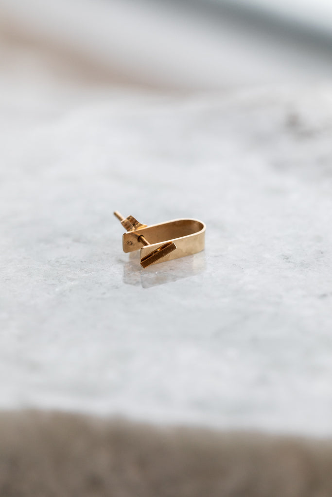 Bevel Stud + Cuff Earring 14k gold
