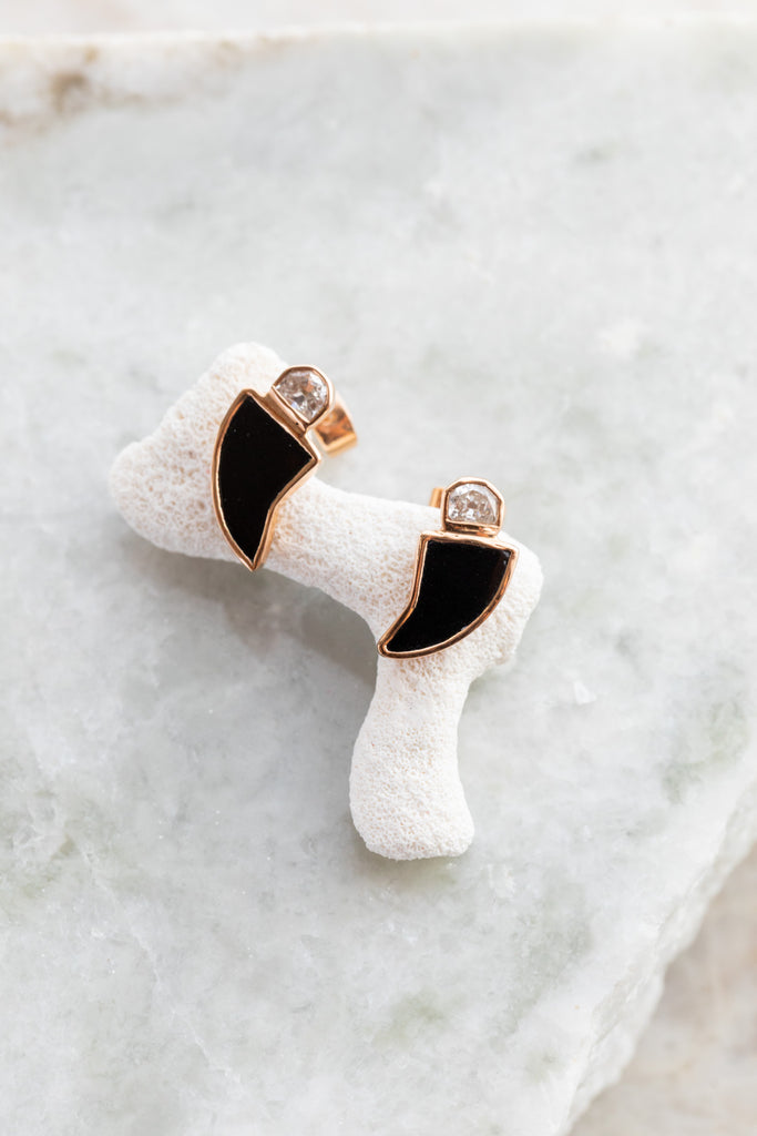 Deco Onyx Diamond Earrings