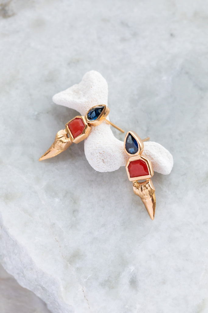 Deco Mediterranean Coral and Pear Shaped Sapphire Shark Tooth Earrings