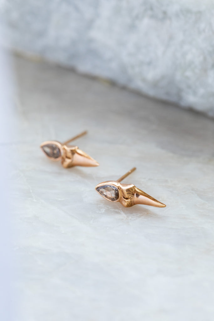 Shark Tooth Rose Cut Diamond Earrings