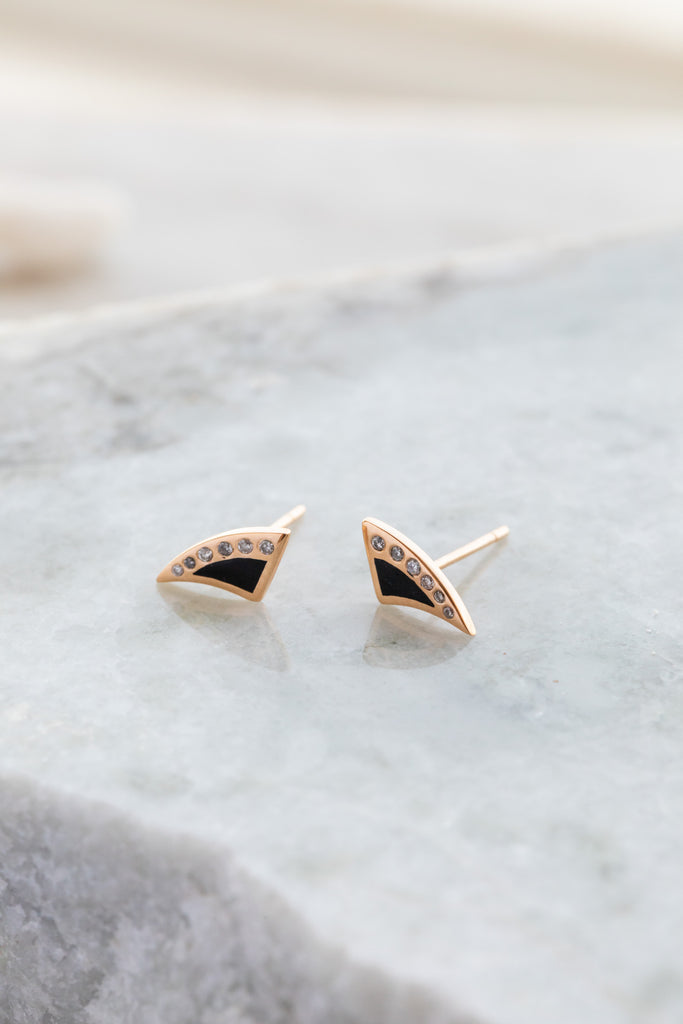 Deco Shark Fin Enameling Diamond Earrings