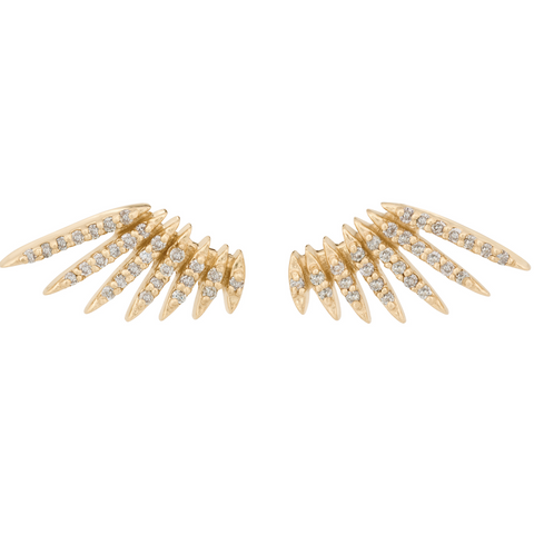 Flying Wings Earrings, Pair, 14k Gold