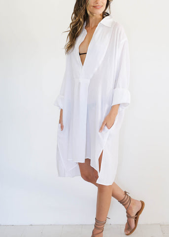 Tara Shirt Dress, White, O/S