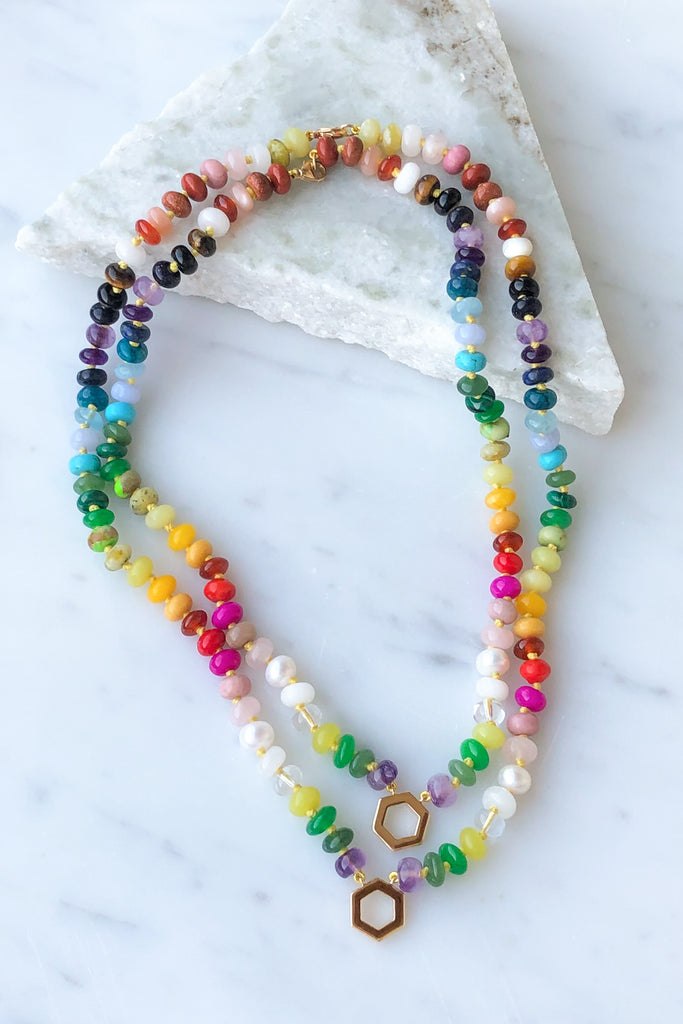 "18"" Rainbow Gemstone Bead Foundation Necklace"