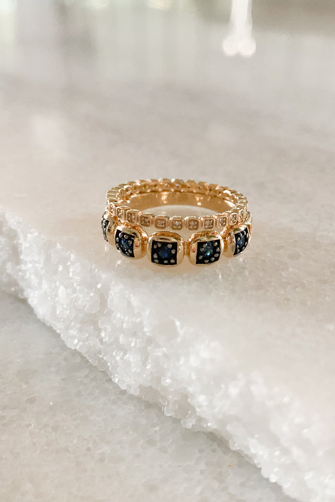 Large Ingot Band with Blue Sapphires 7