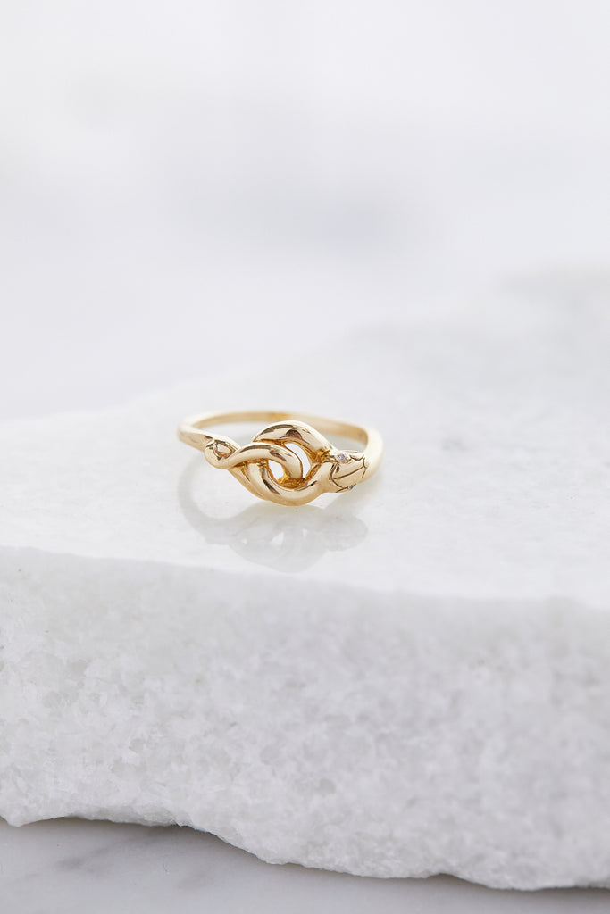 Tiny Serpent, Yellow Gold & White Diamonds