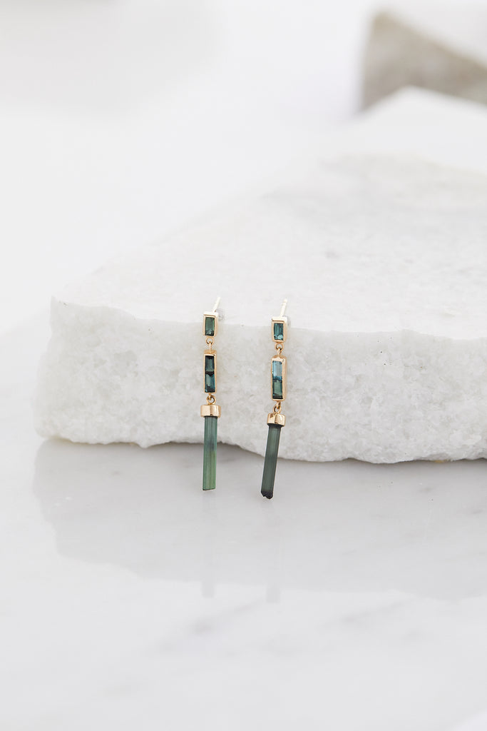 Rough Green Tourmaline Pencil & Baguette Earrings PAIR