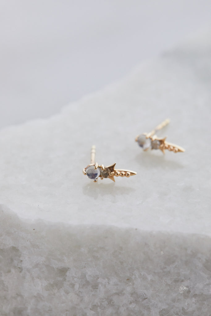 Shooting Star Moonstone + Diamond Earring Set