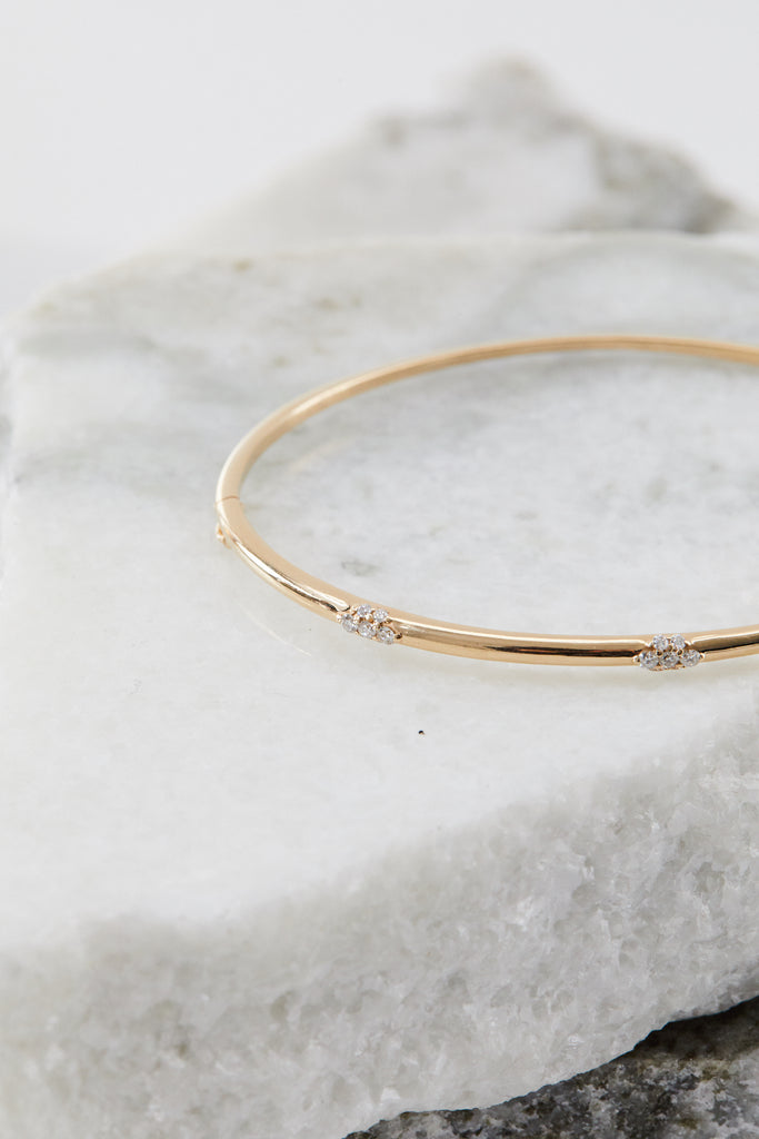 Celestine Three Cluster Diamond Bangle