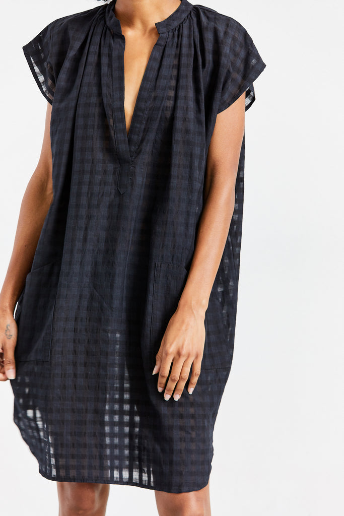 Grid Tunic, Black, O/S