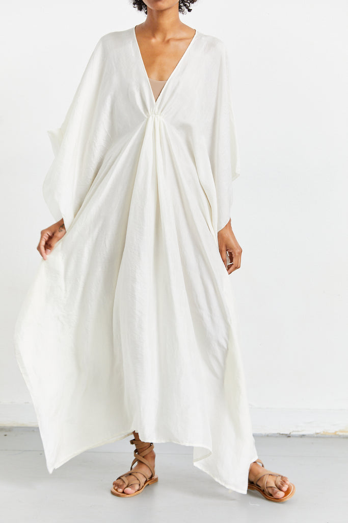 Handloomed Silk Caftan, Natural White, O/S