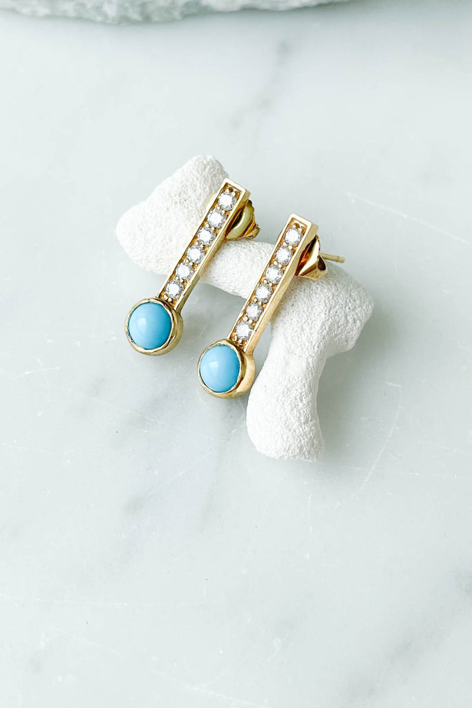Turquoise Hayworth Earrings, 18k YG