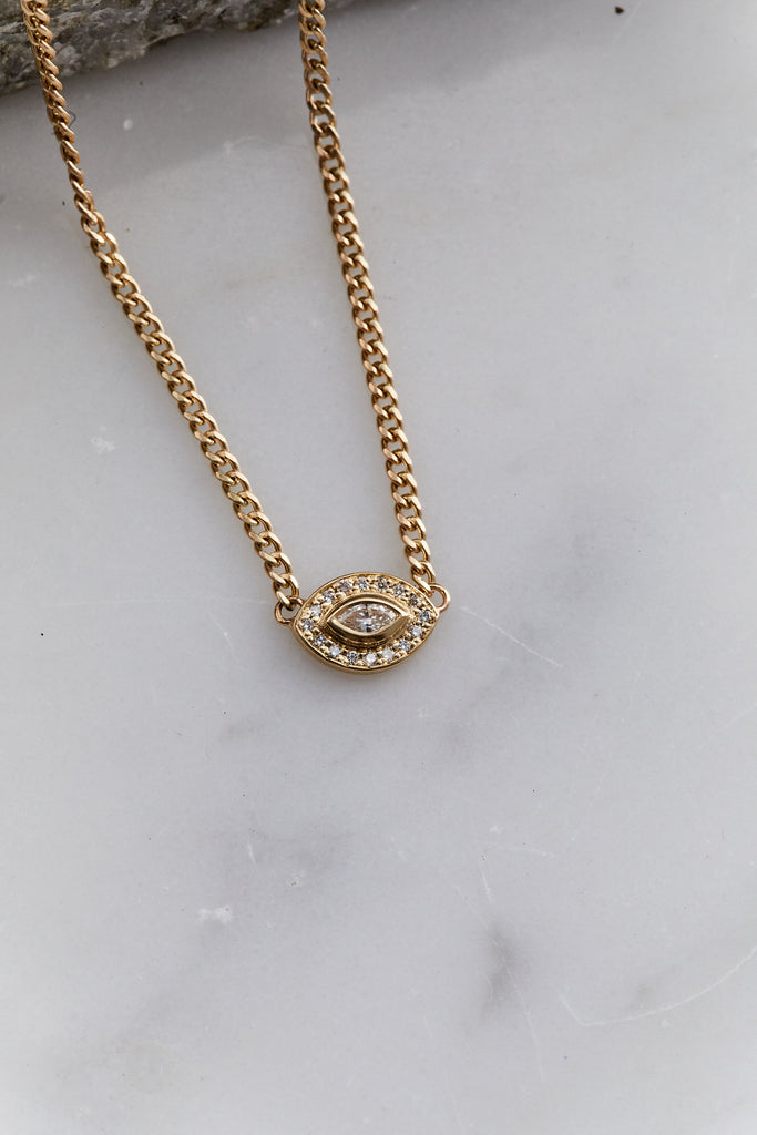Small Diamond Halo Necklace with Marquis Diamond Eye