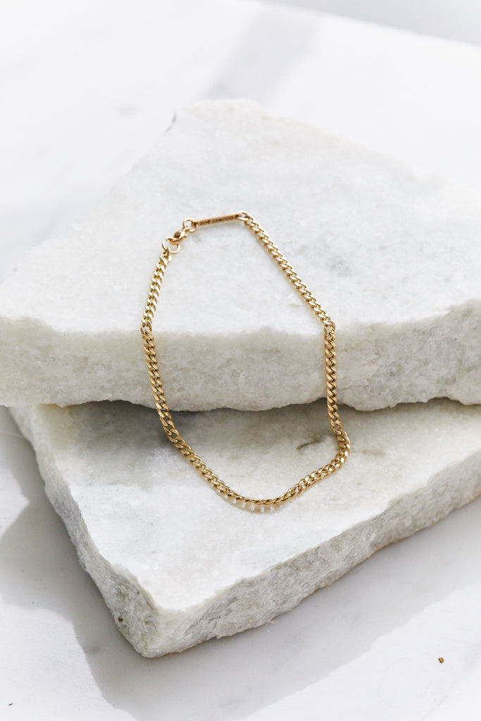 "14K GOLD SMALL CURB CHAIN ANKLET - 9"" LONG"