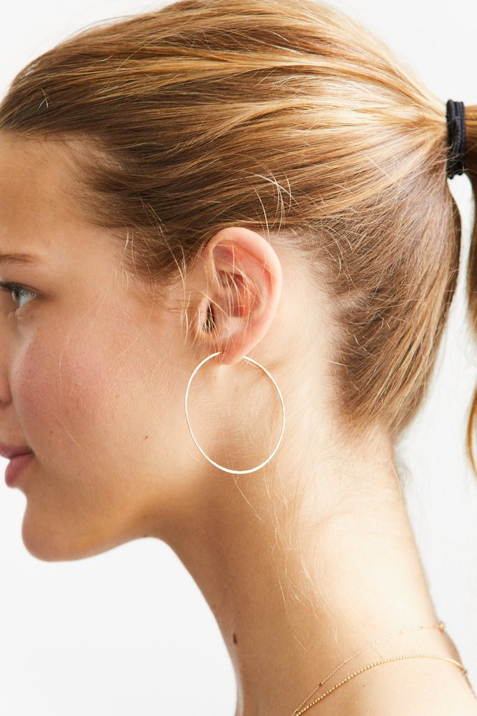 Large Thin Hammered Hoop Earrings