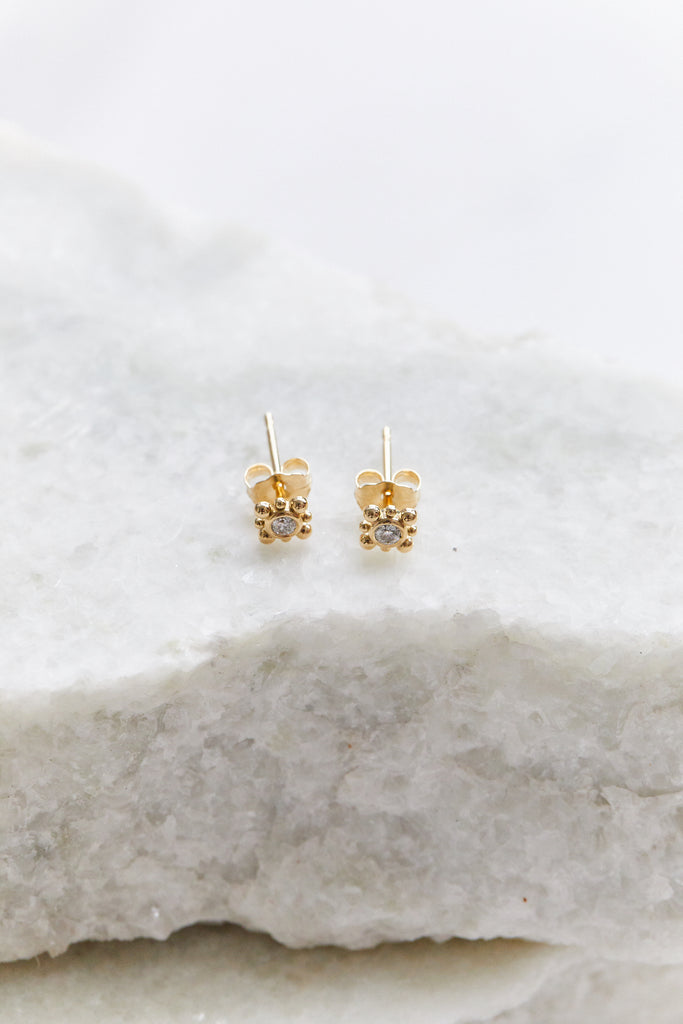 14K GOLD TINY BEAD STARBURST DIAMOND STUDS, SINGLE
