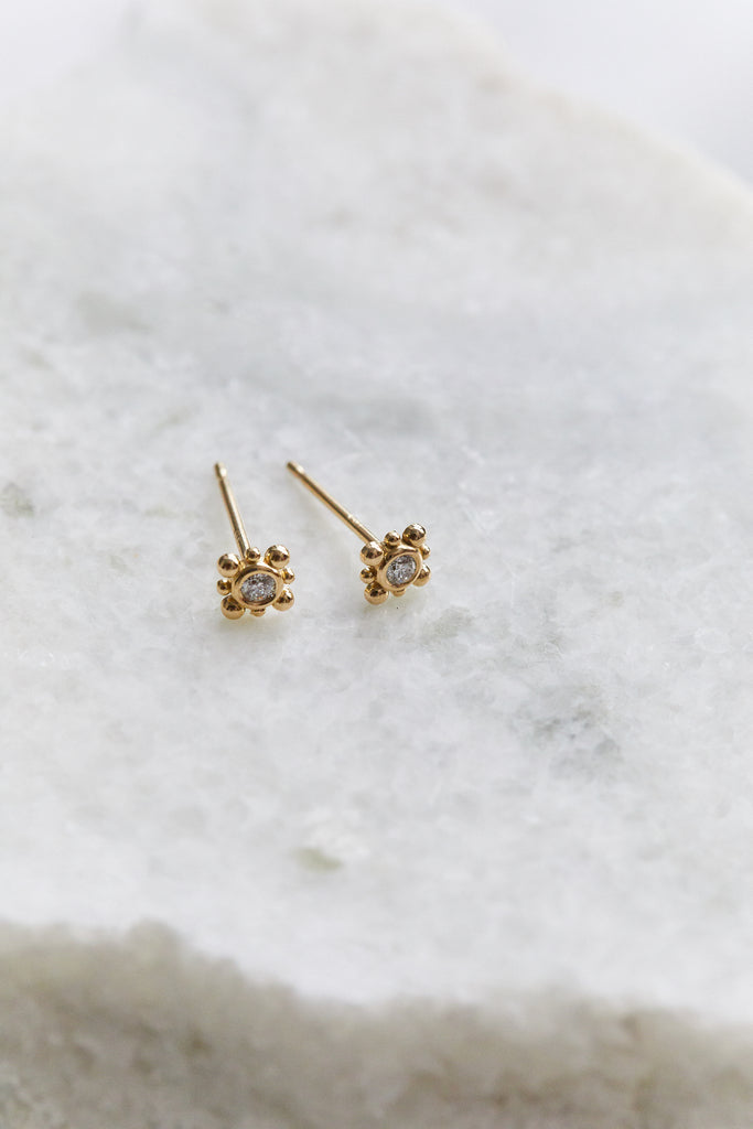 Gold Bead & Diamond Starburst Stud, SINGLE