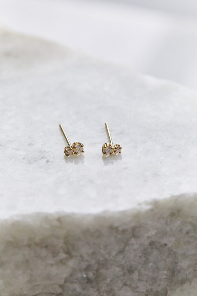 14K GOLD SMALL 2 MIXED DIAMOND PRONG SET STUDS, SINGLE