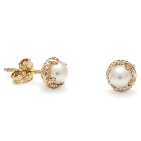 Akoya Pearl & Champagne Diamond Earrings, 14K Yellow Gold