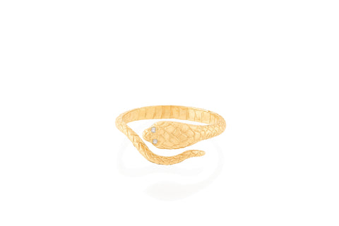 Cobra Ring with Diamond Eyes, 14k Gold, Size 53