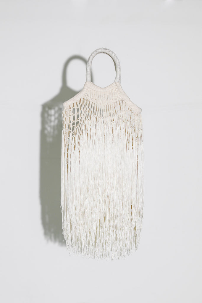 Mini Ecru Fringe Bag