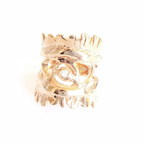 Eye of Warrior Ring, White Diamond, Sz 7