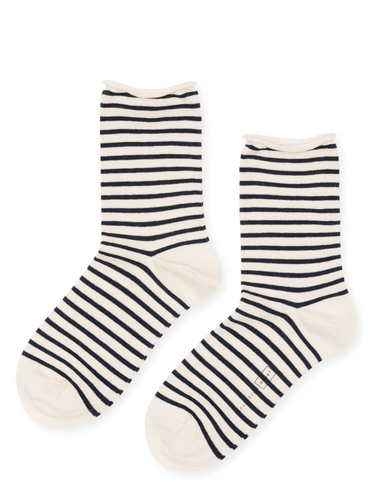 Nautical Stripe Crew Sock, Ivory / Blue