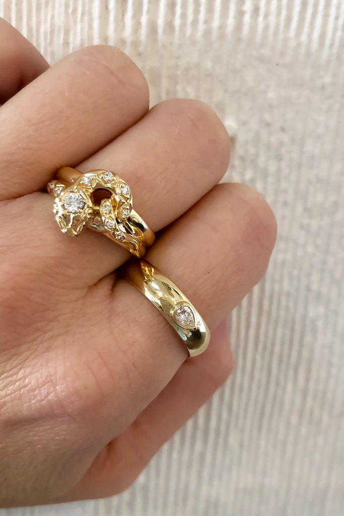 Half Round Ring with Pear Diamond
