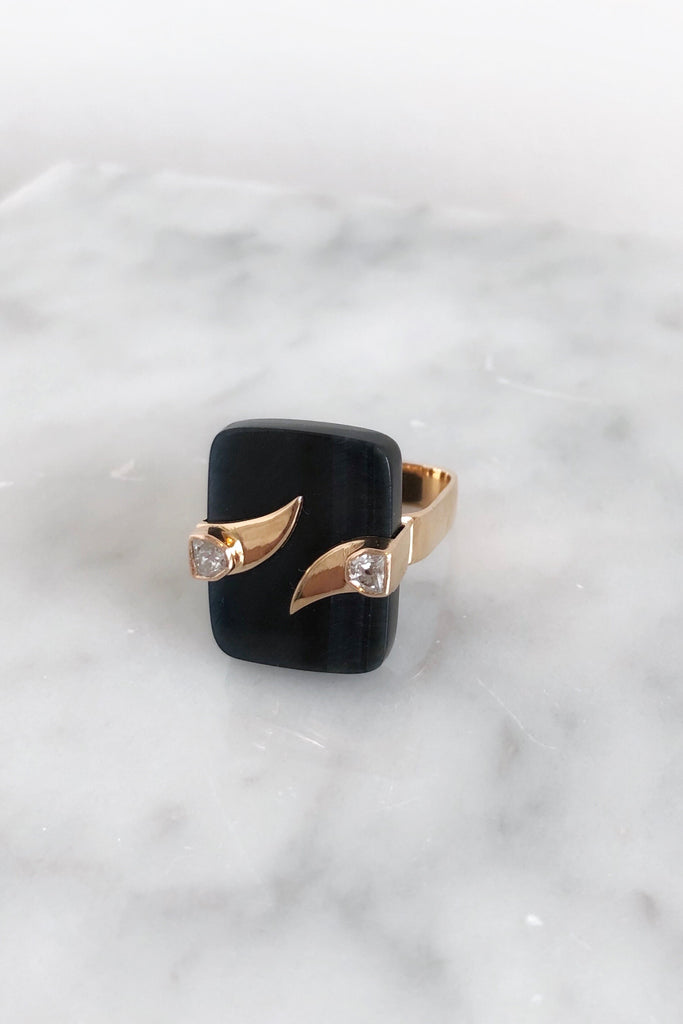 Double Fin on Blue Tiger Eye Ring with Diamonds