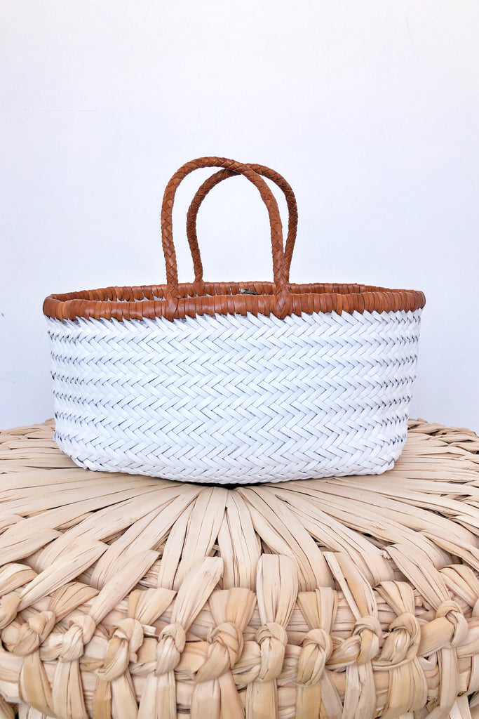 Bamboo Triple Jump Big Tote, White + Tan